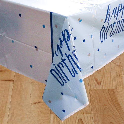 Blue Glitz Birthday Plastic Tablecover 213cm x 137cm