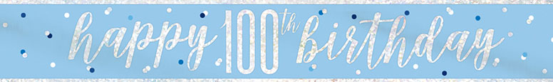Blue Glitz Happy 100th Birthday Holographic Foil Banner 274cm Product Image