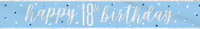 Blue Glitz Happy 18th Birthday Holographic Foil Banner 274cm