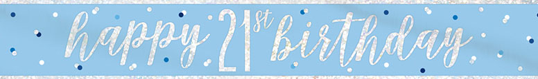 Blue Glitz Happy 21st Birthday Holographic Foil Banner 274cm Product Image