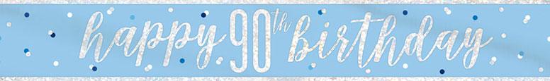 Blue Glitz Happy 90th Birthday Holographic Foil Banner 274cm