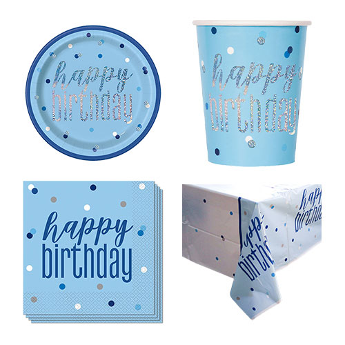 Blue Glitz Happy Birthday 8 Person Value Party Pack