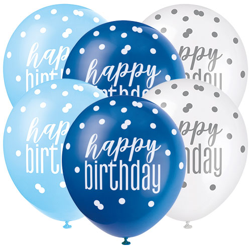 Blue Glitz Happy Birthday Assorted Biodegradable Latex Balloons 30cm / 12 in - Pack of 6