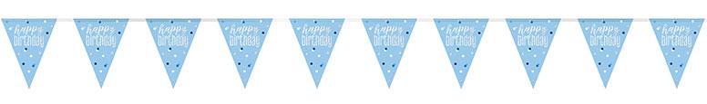 Blue Glitz Happy Birthday Holographic Foil Pennant Bunting 274cm