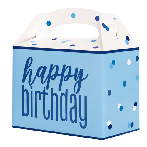 Blue Glitz Happy Birthday Paper Party Box - Pack of 6 Product Image