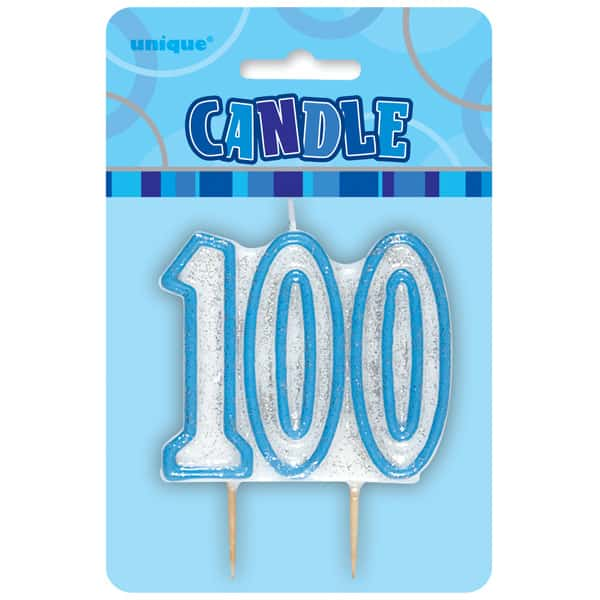 Blue Glitz Theme Number Candle - Number 100