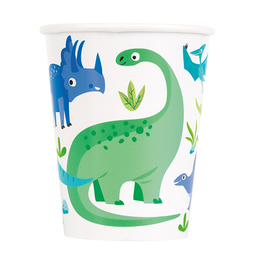 Blue & Green Dinosaur Paper Cups 270ml - Pack of 8 Bundle Product Image