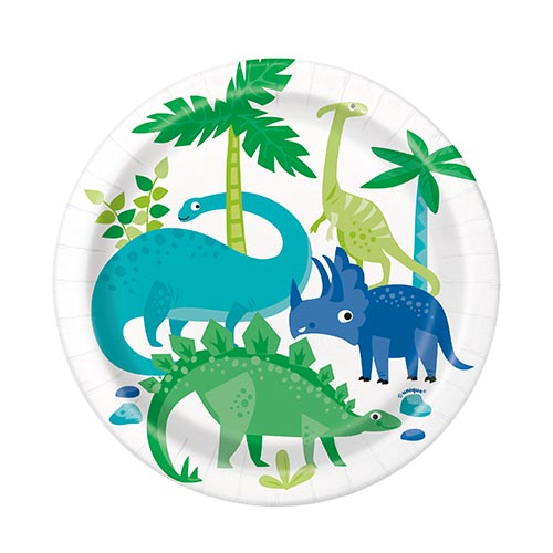 Blue & Green Dinosaur Round Paper Plates 17cm - Pack of 8