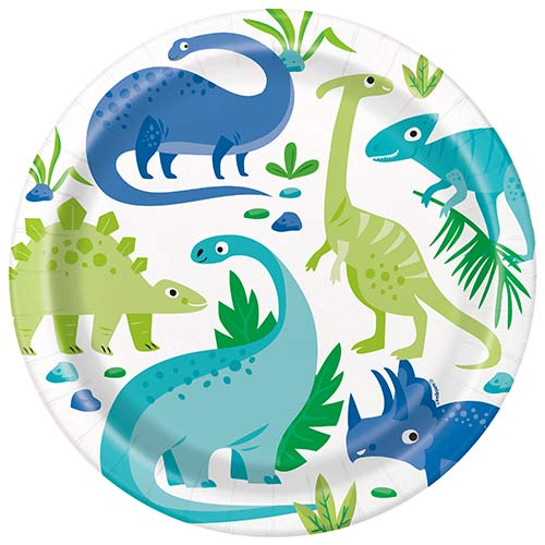 Blue & Green Dinosaur Round Paper Plates 22cm - Pack of 8 Bundle Product Image