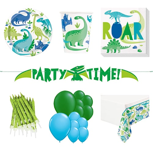 Blue & Green Dinosaur 16 Person Deluxe Party Pack Product Image