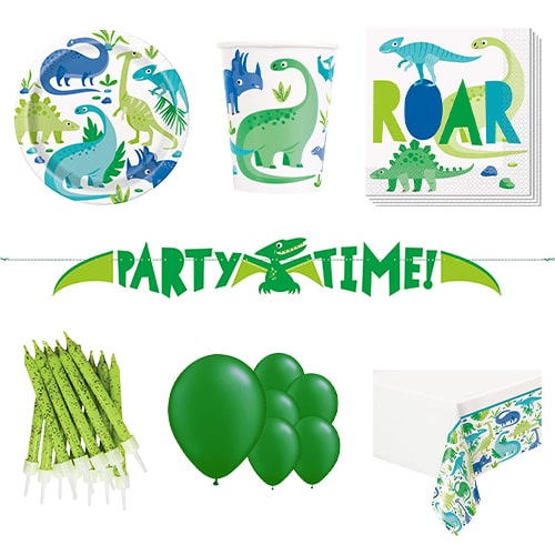 Blue & Green Dinosaur 8 Person Deluxe Party Pack Product Image