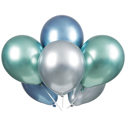 Blue Green & Silver Platinum Assorted Latex Balloons 28cm / 11 in - Pack of 6 Product Image