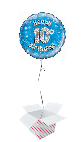 Blue Happy 10th Birthday Holographic Round Foil Helium Balloon - Inflated Balloon in a Box