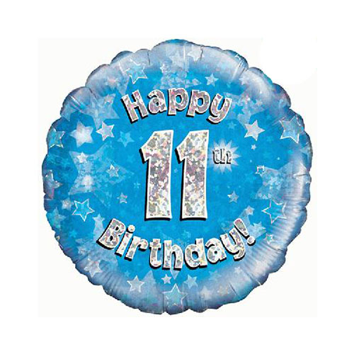 Blue Happy 11th Birthday Holographic Round Foil Helium Balloon 46cm / 18 in
