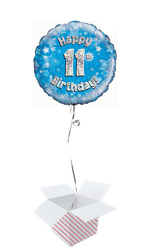 Blue Happy 11th Birthday Holographic Round Foil Helium Balloon - Inflated Balloon in a Box