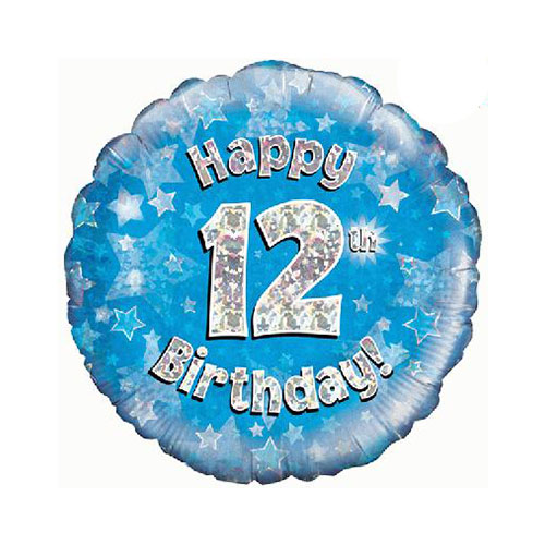 Blue Happy 12th Birthday Holographic Round Foil Helium Balloon 46cm / 18 in