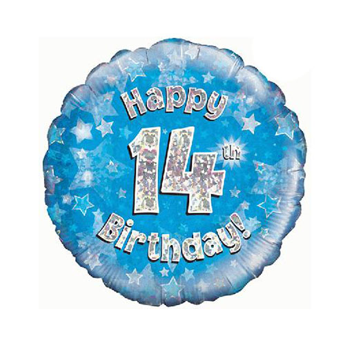 Blue Happy 14th Birthday Holographic Round Foil Helium Balloon 46cm / 18 in