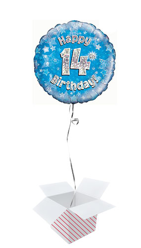 Blue Happy 14th Birthday Holographic Round Foil Helium Balloon - Inflated Balloon in a Box