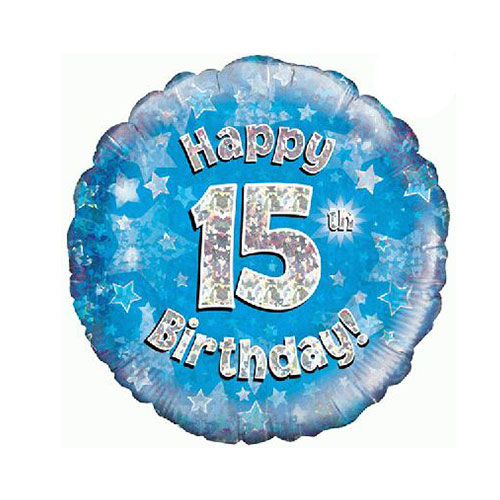 Blue Happy 15th Birthday Holographic Round Foil Helium Balloon 46cm / 18 in