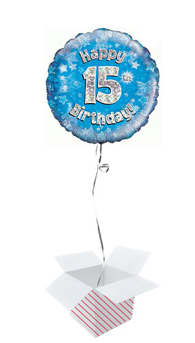 Blue Happy 15th Birthday Holographic Round Foil Helium Balloon - Inflated Balloon in a Box