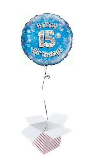 Blue Happy 15th Birthday Holographic Round Foil Helium Balloon - Inflated Balloon in a Box Product Image