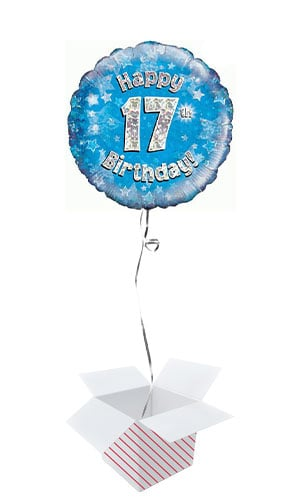Blue Happy 17th Birthday Holographic Round Foil Helium Balloon - Inflated Balloon in a Box