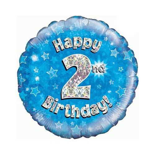 Blue Happy 2nd Birthday Holographic Round Foil Helium Balloon 46cm / 18 in Product Image