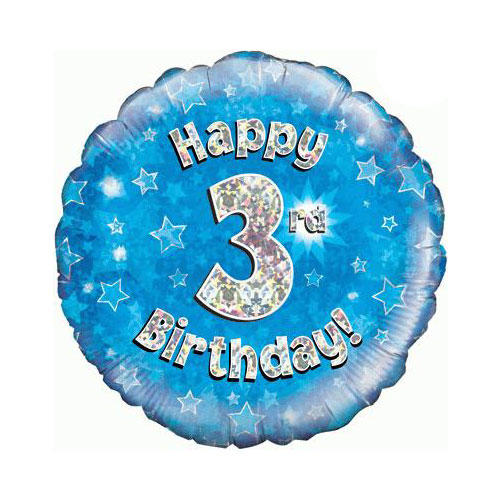 Blue Happy 3rd Birthday Holographic Round Foil Helium Balloon 46cm / 18 in