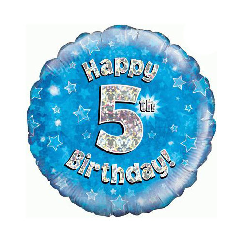 Blue Happy 5th Birthday Holographic Round Foil Helium Balloon 46cm / 18 in