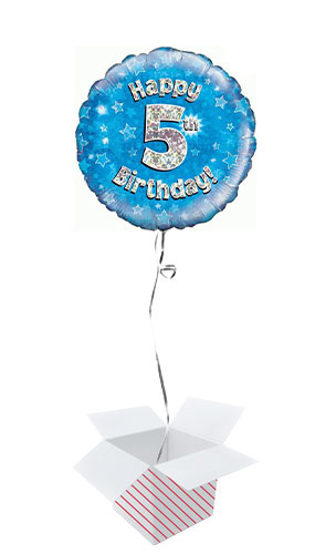 Blue Happy 5th Birthday Holographic Round Foil Helium Balloon - Inflated Balloon in a Box Product Image