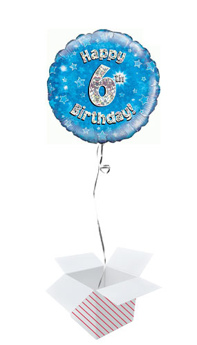 Blue Happy 6th Birthday Holographic Round Foil Helium Balloon - Inflated Balloon in a Box Product Image