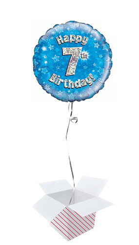 Blue Happy 7th Birthday Holographic Round Foil Helium Balloon - Inflated Balloon in a Box
