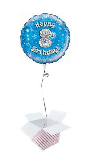Blue Happy 8th Birthday Holographic Round Foil Helium Balloon - Inflated Balloon in a Box