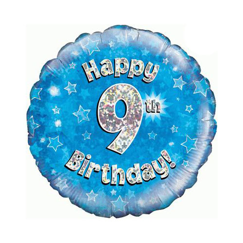 Blue Happy 9th Birthday Holographic Round Foil Helium Balloon 46cm / 18 in Product Image