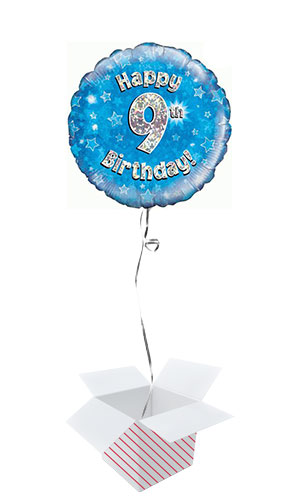 Blue Happy 9th Birthday Holographic Round Foil Helium Balloon - Inflated Balloon in a Box Product Image