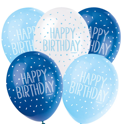 Blue Happy Birthday Assorted Biodegradable Latex Balloons 30cm / 12Inch - Pack of 5 Product Image