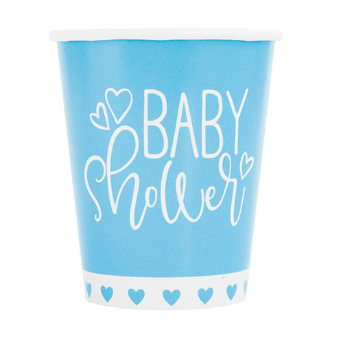 Blue Hearts Baby Shower Paper Cups 270ml - Pack of 8