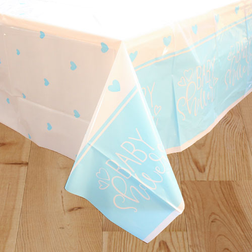 Blue Hearts Baby Shower Plastic Tablecover 213cm x 137cm