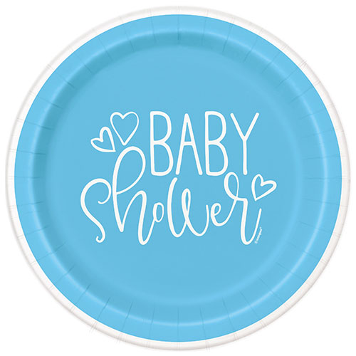 Blue Hearts Baby Shower Round Paper Plates 22cm - Pack of 8
