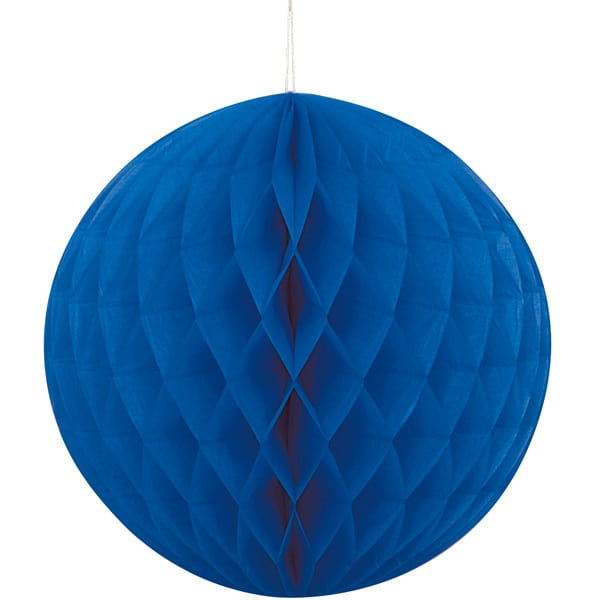 Blue Honeycomb Hanging Decoration Ball 20cm