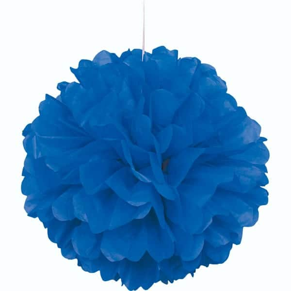 Blue Honeycomb Hanging Decoration Puff Ball 40cm