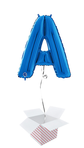 Blue Letter A Helium Foil Giant Balloon - Inflated Balloon in a Box Product Image