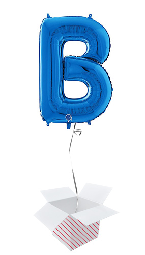 Blue Letter B Helium Foil Giant Balloon - Inflated Balloon in a Box Product Image