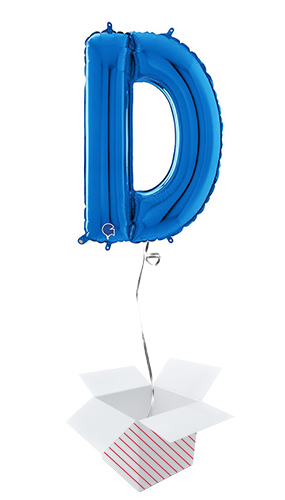 Blue Letter D Helium Foil Giant Balloon - Inflated Balloon in a Box Product Image