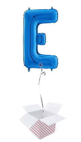 Blue Letter E Helium Foil Giant Balloon - Inflated Balloon in a Box Product Image