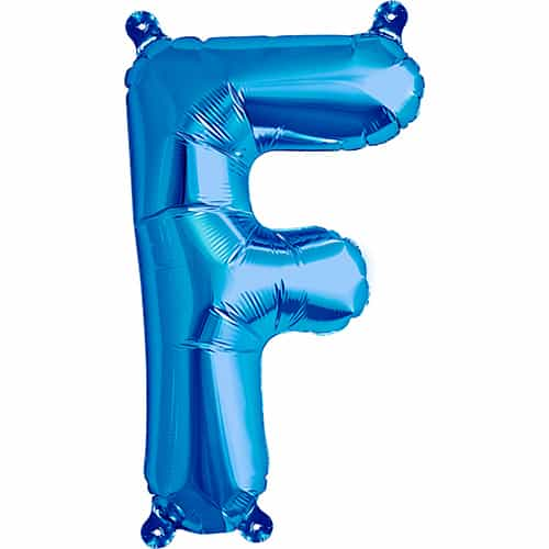 Blue Air Fill Foil Balloon Letter F – 16 Inches / 41cm Product Image