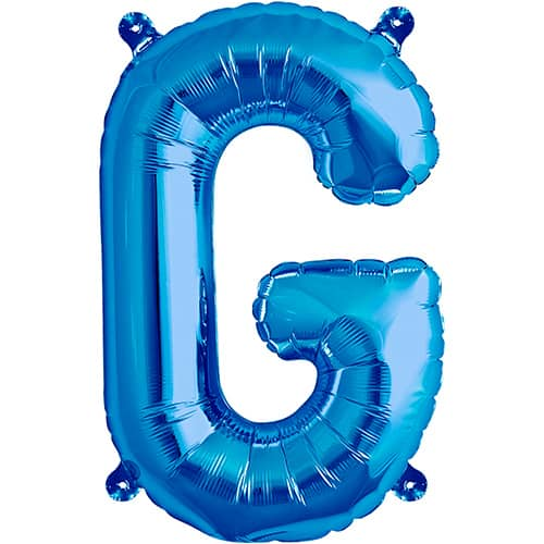 Blue Air Fill Foil Balloon Letter G – 16 Inches / 41cm Product Image
