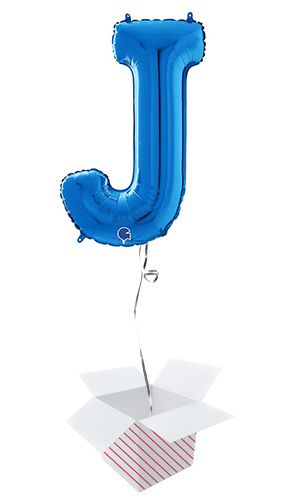 Blue Letter J Helium Foil Giant Balloon - Inflated Balloon in a Box Product Image
