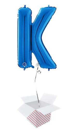 Blue Letter K Helium Foil Giant Balloon - Inflated Balloon in a Box Product Image