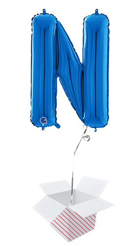 Blue Letter N Helium Foil Giant Balloon - Inflated Balloon in a Box Product Image